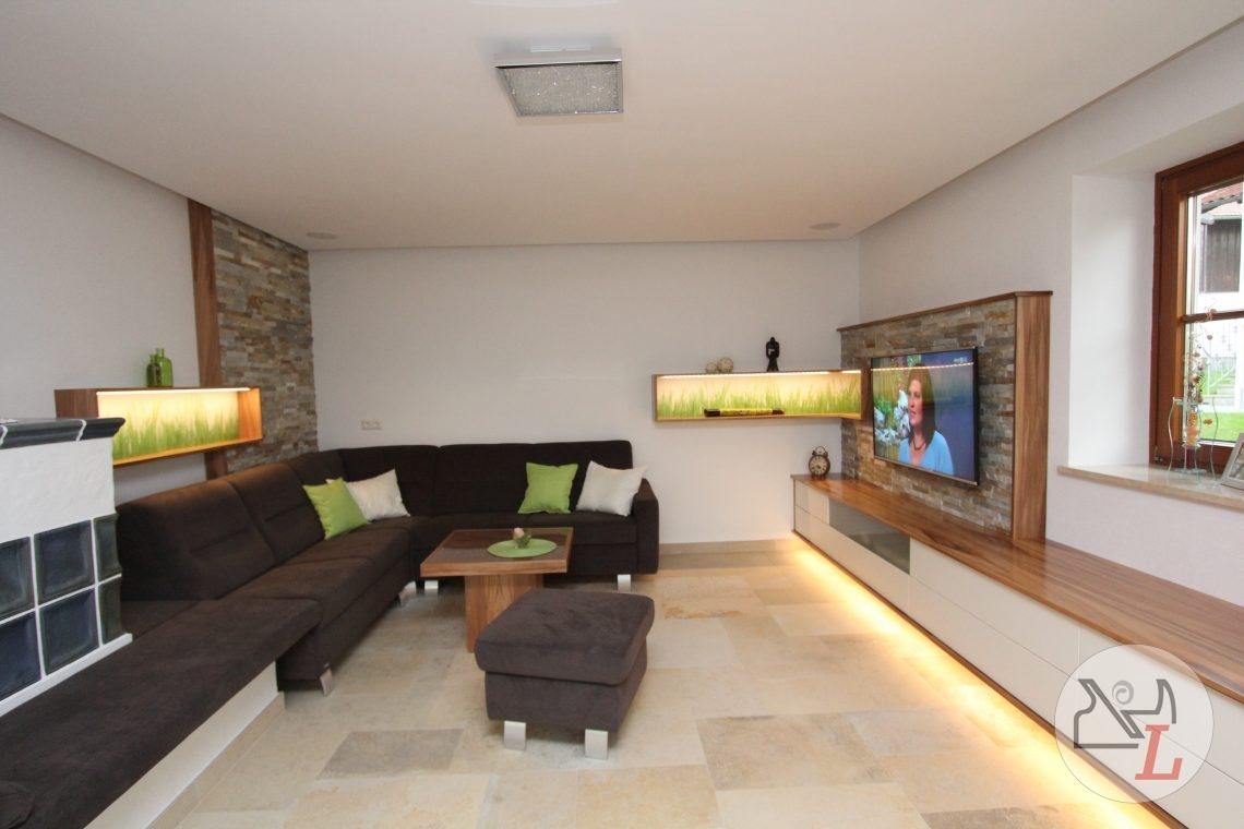wohnzimmer in satin nuss listberger tischlerei. Black Bedroom Furniture Sets. Home Design Ideas